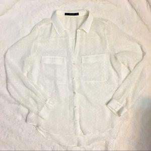 White sheer Zara top